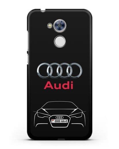 Чехол Audi с автомобильным номером силикон черный для Honor 6A