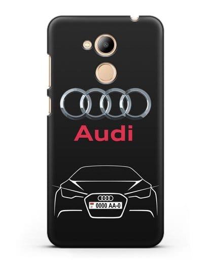 Чехол Audi с автомобильным номером силикон черный для Honor 6C Pro