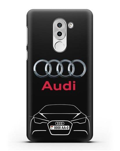 Чехол Audi с автомобильным номером силикон черный для Honor 6X