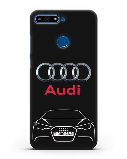 Чехол Audi с автомобильным номером силикон черный для Honor 7А Pro