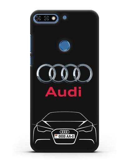 Чехол Audi с автомобильным номером силикон черный для Honor 7C Pro
