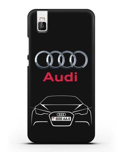 Чехол Audi с автомобильным номером силикон черный для Honor 7i