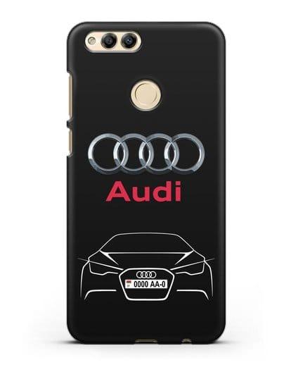Чехол Audi с автомобильным номером силикон черный для Honor 7X