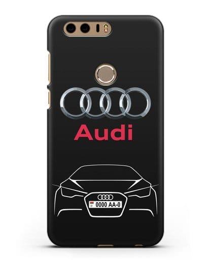 Чехол Audi с автомобильным номером силикон черный для Honor 8
