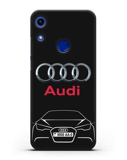 Чехол Audi с автомобильным номером силикон черный для Honor 8A