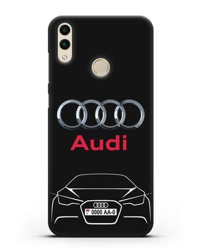 Чехол Audi с автомобильным номером силикон черный для Honor 8C