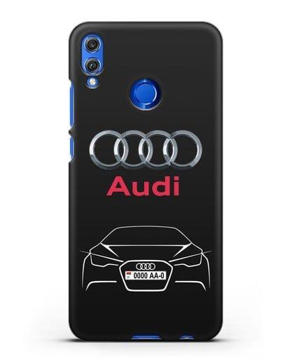 Чехол Audi с автомобильным номером силикон черный для Honor 8X