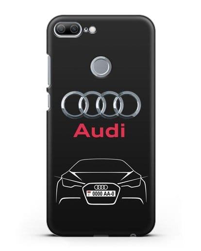Чехол Audi с автомобильным номером силикон черный для Honor 9 Lite