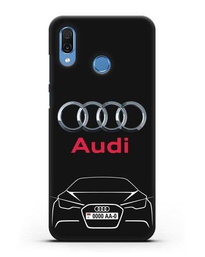 Чехол Audi с автомобильным номером силикон черный для Honor Play