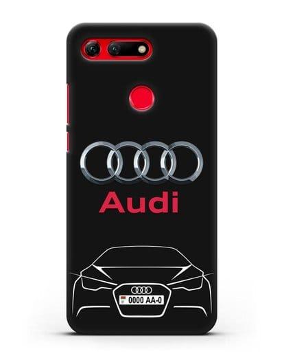 Чехол Audi с автомобильным номером силикон черный для Honor View 20
