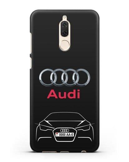 Чехол Audi с автомобильным номером силикон черный для Huawei Mate 10 Lite