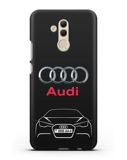 Чехол Audi с автомобильным номером силикон черный для Huawei Mate 20 Lite