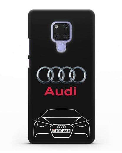 Чехол Audi с автомобильным номером силикон черный для Huawei Mate 20X