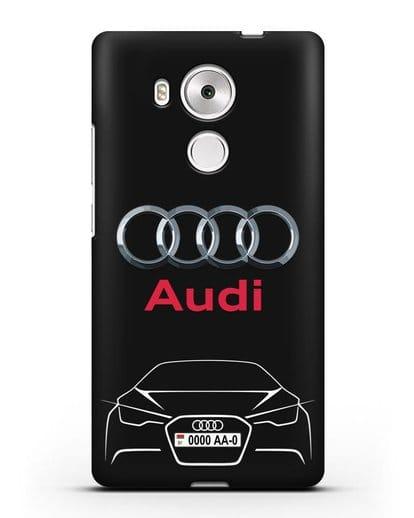 Чехол Audi с автомобильным номером силикон черный для Huawei Mate 8