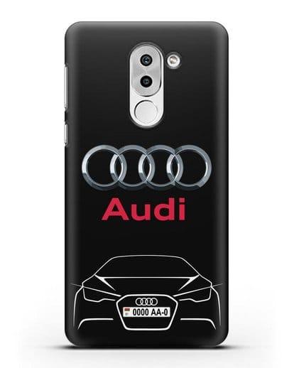 Чехол Audi с автомобильным номером силикон черный для Huawei Mate 9 Lite