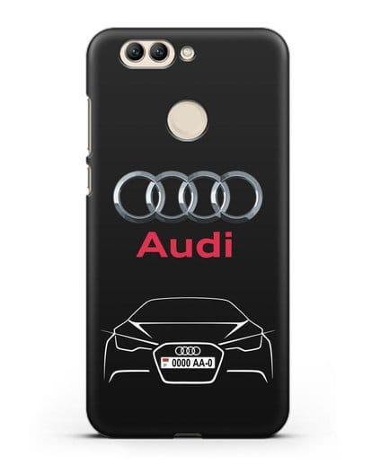 Чехол Audi с автомобильным номером силикон черный для Huawei Nova 2 Plus