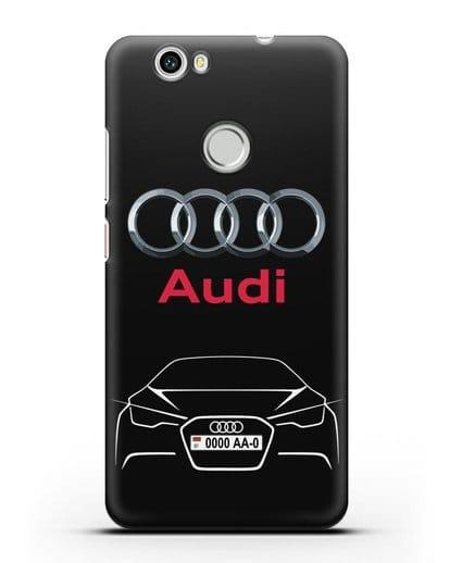 Чехол Audi с автомобильным номером силикон черный для Huawei Nova