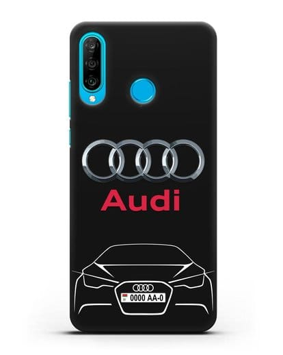 Чехол Audi с автомобильным номером силикон черный для Huawei P30 Lite