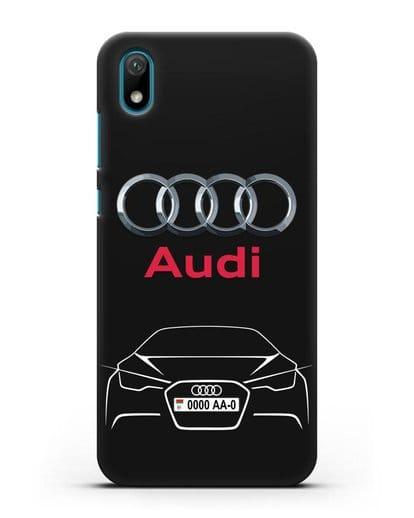 Чехол Audi с автомобильным номером силикон черный для Huawei Y5 2019