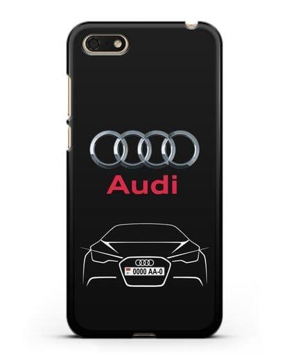 Чехол Audi с автомобильным номером силикон черный для Huawei Y5 Prime 2018