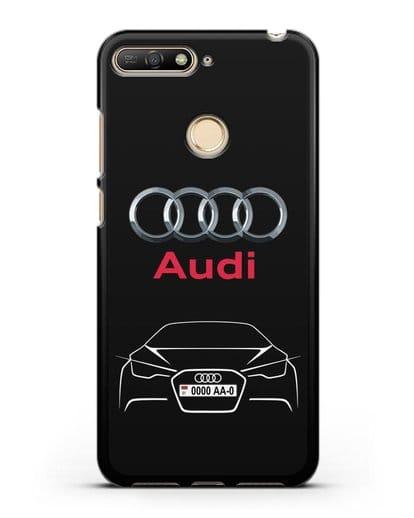 Чехол Audi с автомобильным номером силикон черный для Huawei Y6 Prime 2018
