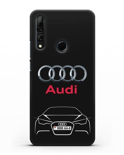 Чехол Audi с автомобильным номером силикон черный для Huawei Y9 Prime 2019
