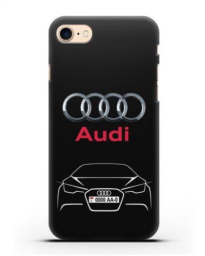 Чехол Audi с автомобильным номером силикон черный для iPhone 7