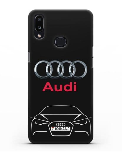 Чехол Audi с автомобильным номером силикон черный для Samsung Galaxy A10s [SM-F107F]