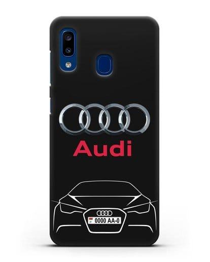 Чехол Audi с автомобильным номером силикон черный для Samsung Galaxy A20 [SM-A205FN]
