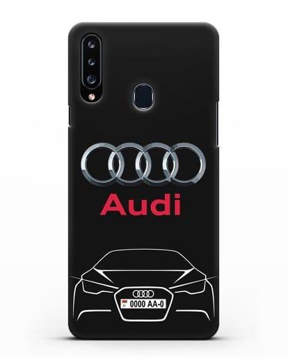 Чехол Audi с автомобильным номером силикон черный для Samsung Galaxy A20s [SM-A207FN]