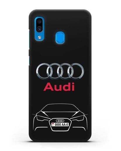 Чехол Audi с автомобильным номером силикон черный для Samsung Galaxy A30 [SM-A305FN]