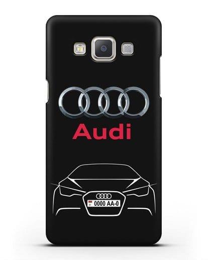 Чехол Audi с автомобильным номером силикон черный для Samsung Galaxy A7 2015 [SM-A700F]