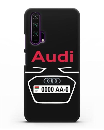 Чехол Ауди с номерным знаком силикон черный для Honor 20 Pro