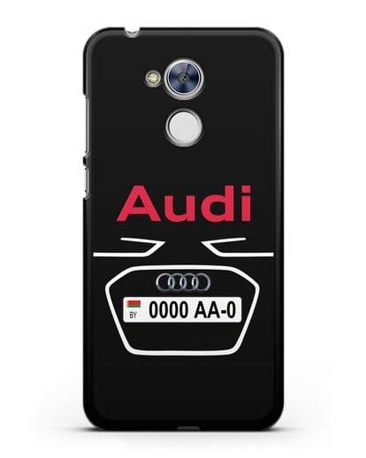 Чехол Ауди с номерным знаком силикон черный для Honor 6A