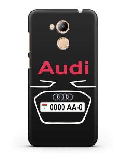 Чехол Ауди с номерным знаком силикон черный для Honor 6C Pro