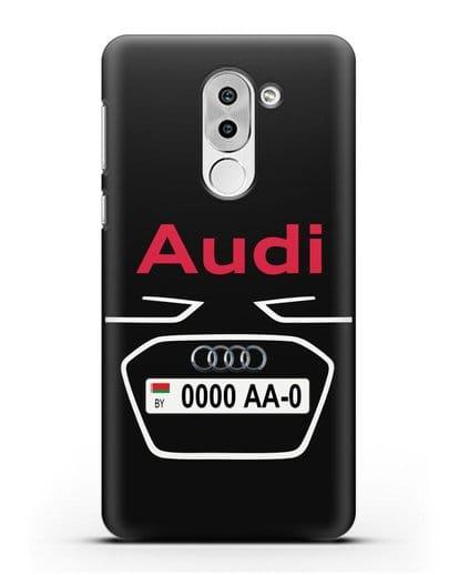 Чехол Ауди с номерным знаком силикон черный для Honor 6X