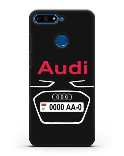 Чехол Ауди с номерным знаком силикон черный для Honor 7А Pro