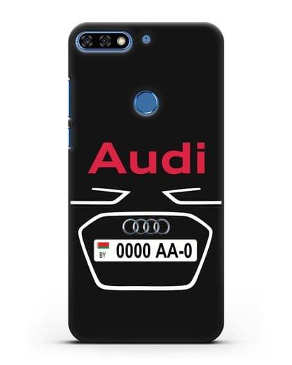 Чехол Ауди с номерным знаком силикон черный для Honor 7C Pro
