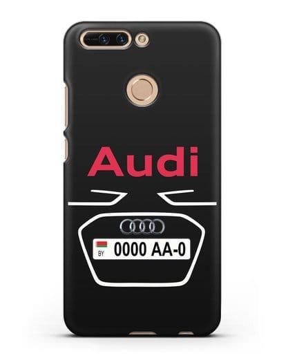 Чехол Ауди с номерным знаком силикон черный для Honor 8 Pro