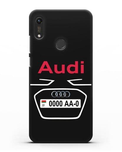 Чехол Ауди с номерным знаком силикон черный для Honor 8A Prime