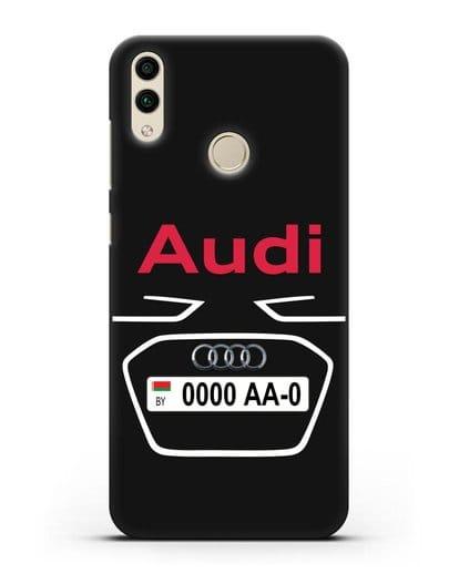 Чехол Ауди с номерным знаком силикон черный для Honor 8C