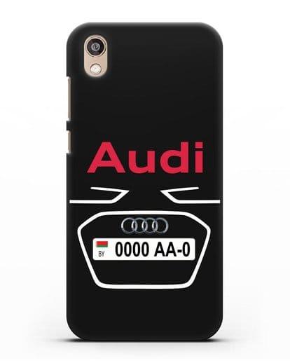 Чехол Ауди с номерным знаком силикон черный для Honor 8S Prime