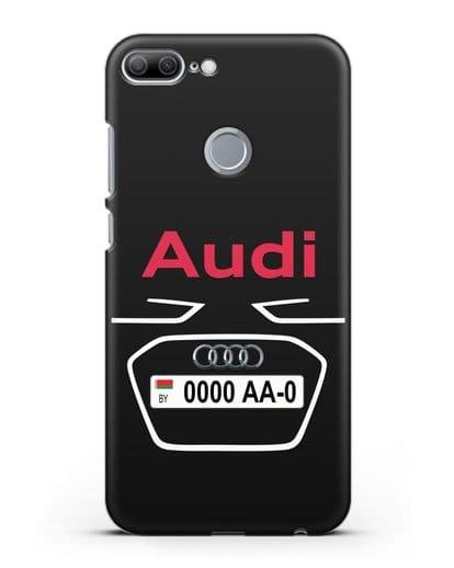 Чехол Ауди с номерным знаком силикон черный для Honor 9 Lite