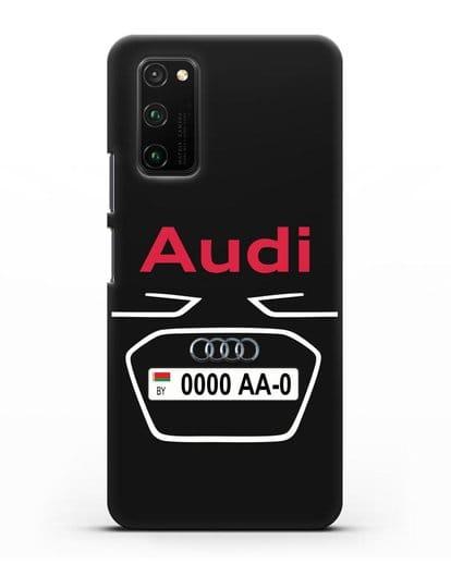 Чехол Ауди с номерным знаком силикон черный для Honor View 30 Pro