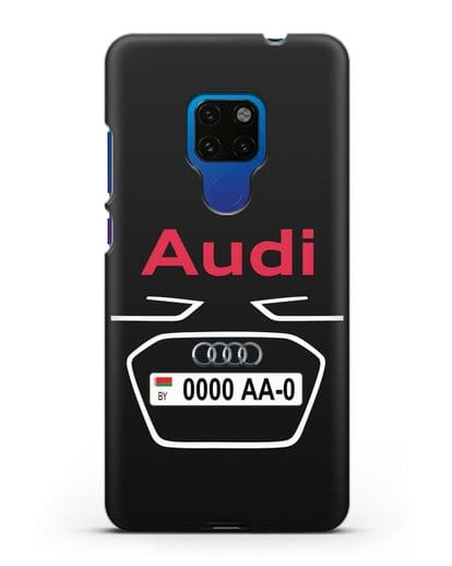 Чехол Ауди с номерным знаком силикон черный для Huawei Mate 20
