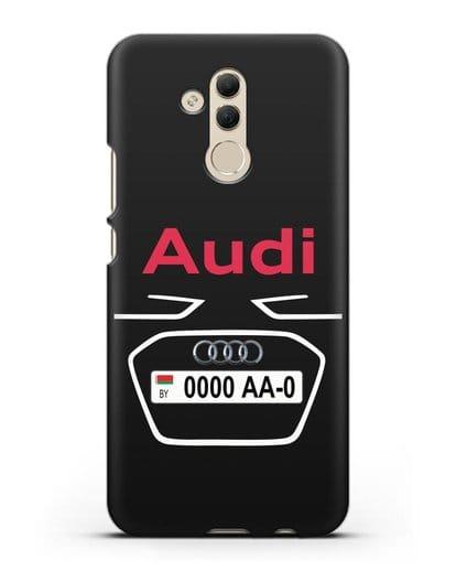 Чехол Ауди с номерным знаком силикон черный для Huawei Mate 20 Lite