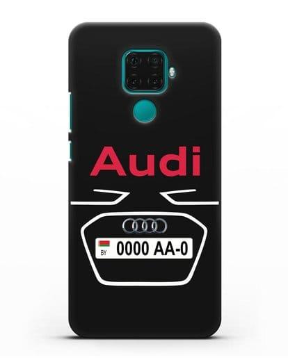 Чехол Ауди с номерным знаком силикон черный для Huawei Mate 30 Lite