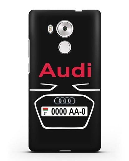 Чехол Ауди с номерным знаком силикон черный для Huawei Mate 8