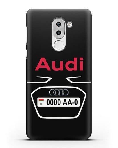 Чехол Ауди с номерным знаком силикон черный для Huawei Mate 9 Lite
