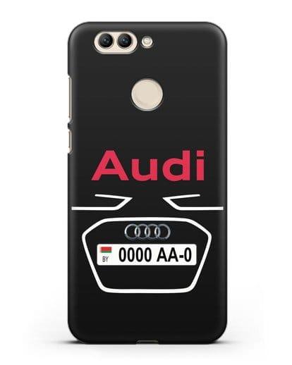 Чехол Ауди с номерным знаком силикон черный для Huawei Nova 2 Plus